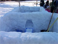 Children built snow fort